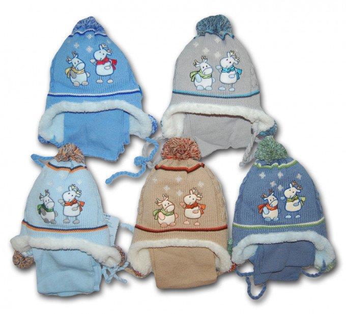 Польская шапочка с веселыми оленями для стильных деток. :) С ушками.